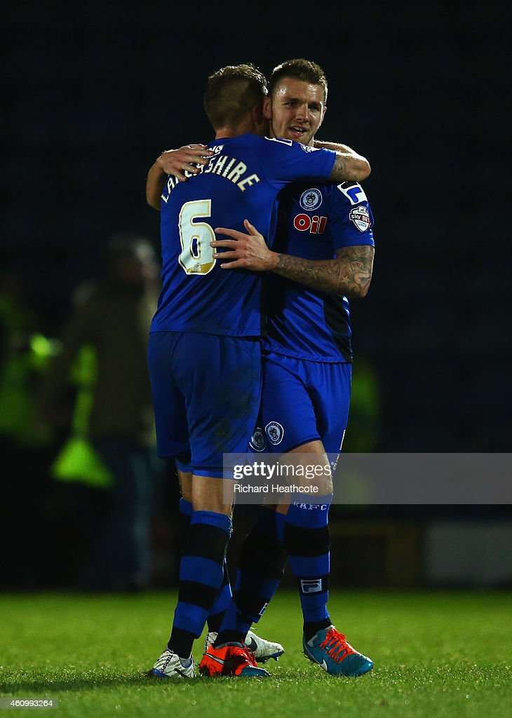 Oliver Lancashire celebrates with teammate Ashley Eastham of Rochdale after the FA Cup Third Round match between Rochdale and Nottingham Forest at...