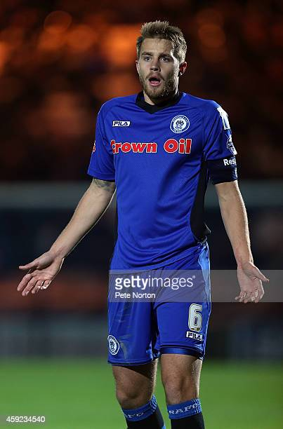 Oliver Lancashire of Rochdale in action during the FA Cup First Round Replay between Rochdale and Northampton Town at Spotland Stadium on November 18...