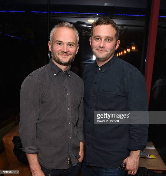 Oliver Lansley and Gareth Farr attend the press night after party for 'The Quiet House' at Park Theatre on June 8 2016 in London England
