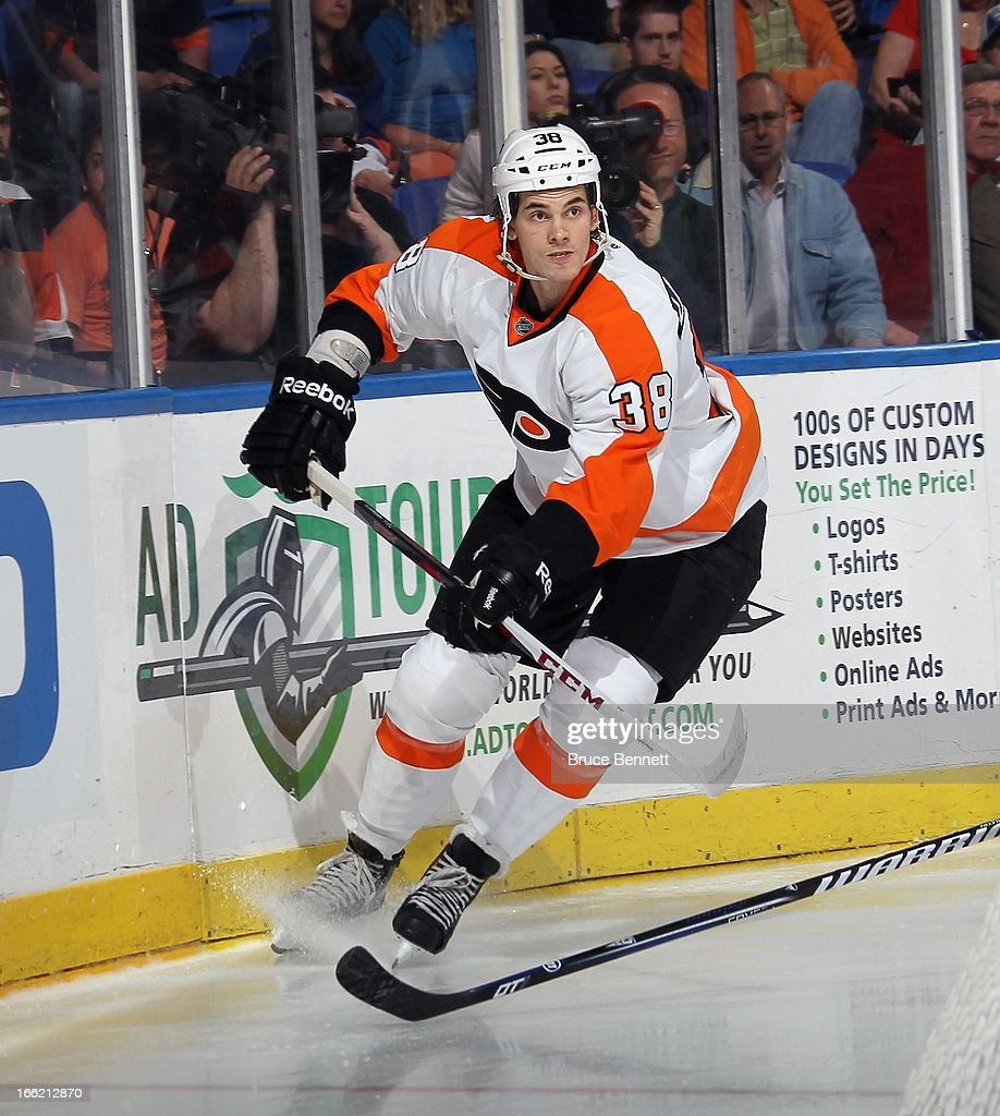 Oliver Lauridsen #38 of the Philadelphia Flyers skates against the New York Islanders at the Nassau Veterans Memorial Coliseum on April 9, 2013 in Uniondale, New York. The Islanders defeated the Flyers 4-1.