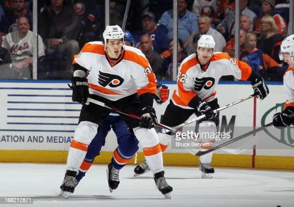 Oliver Lauridsen of the Philadelphia Flyers skates against the New York Islanders at the Nassau Veterans Memorial Coliseum on April 9 2013 in...