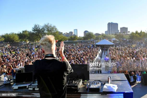 Oliver Lee of Snakehips performs at Piestewa Stage during day 3 of the 2017 Lost Lake Festival on October 22 2017 in Phoenix Arizona