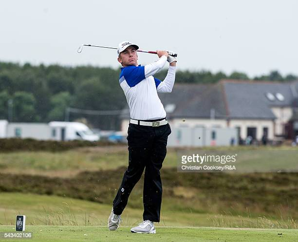 Oliver Lindell watches his tee shot at the 15th at Gailes Links Golf Course on June 28 2016 in Irvine Scotland