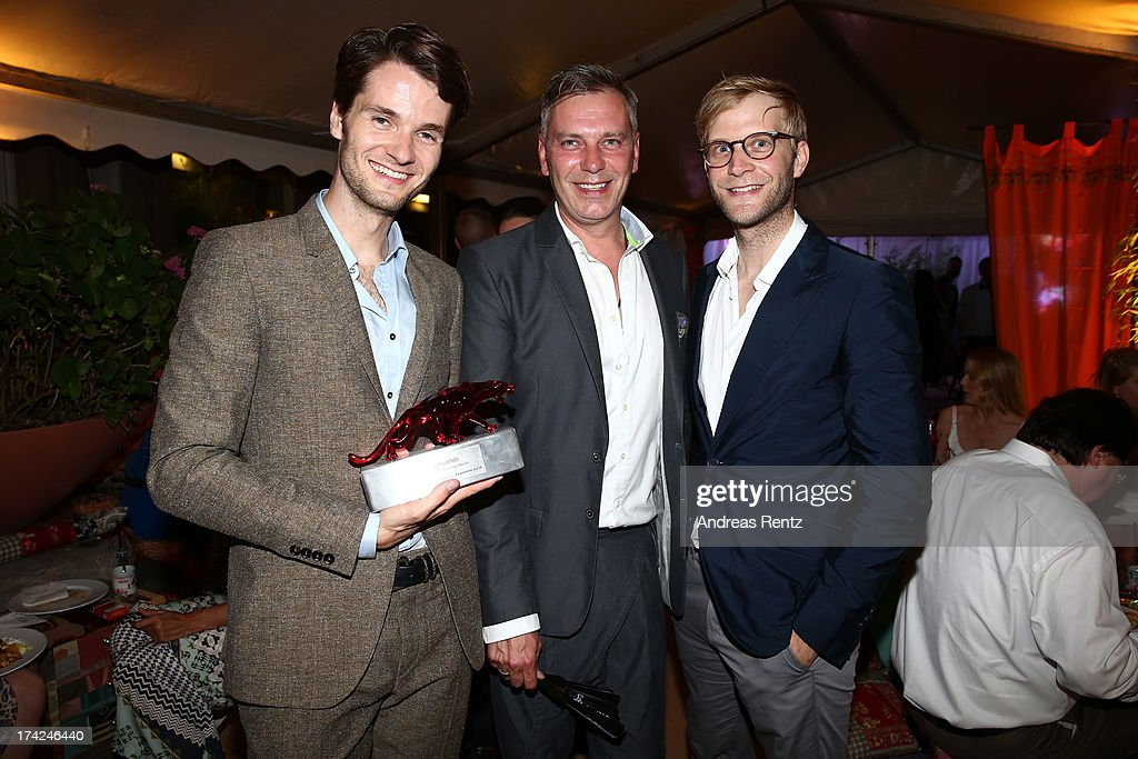 Oliver Luehr, Martin Obermeyr and Thomas Bentz with the award at KARE Design at the New Faces Award Fashion 2013 at Rheinterrasse on July 22, 2013 in Duesseldorf, Germany.