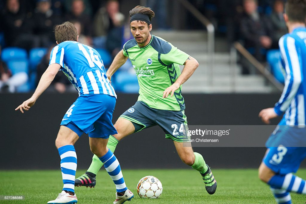 Oliver Lund of OB Odense controls the ball during the Danish Alka Superliga match between Esbjerg fB and OB Odense at Blue Water Arena on May 02, 2016 in Esbjerg, Denmark.