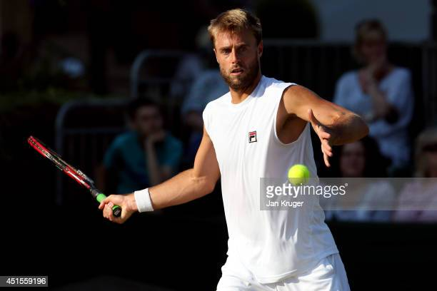 Oliver Marach of Austria during his Mixed Doubles second round match with Karolina Pliskova of Czech Republic against Aisam Qureshi of Pakistan and...