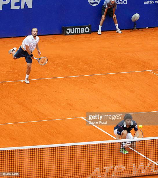 Oliver Marach of Austria serves during a doubles final match between Jarko Nieminen / Andre Sa vs Pablo Andujar / Oliver Marach as part of ATP...