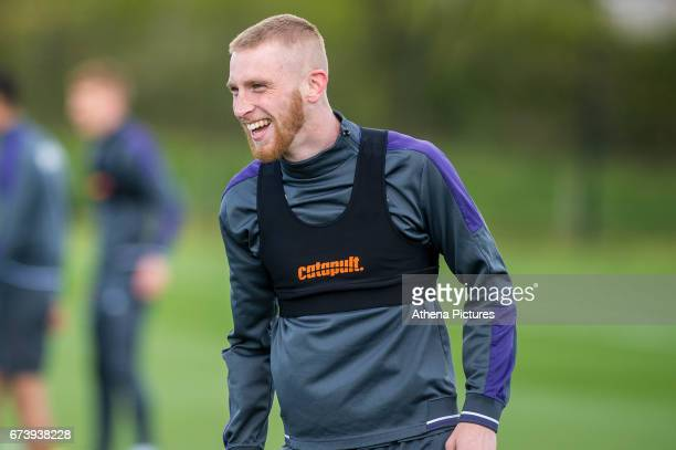 Oliver McBurnie in action during Swansea City training session at The Fairwood training Ground on November 16 2016 in Swansea Wales