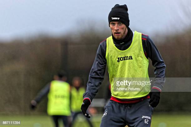 Oliver McBurnie in action during the Swansea City Training at The Fairwood Training Ground on December 05 2017 in Swansea Wales
