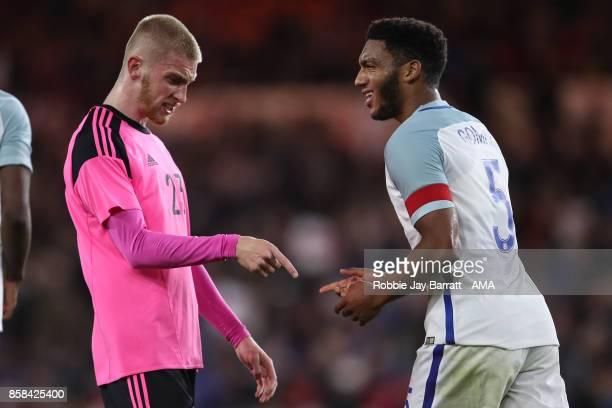 Oliver McBurnie of Scotland U21 and Joe Gomez of England U21 have a disagreement during the UEFA European Under 21 Championship Qualifiers fixture...