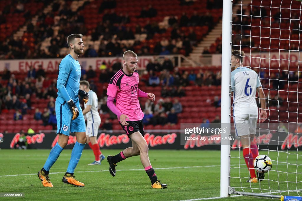 Oliver McBurnie of Scotland U21 collects the ball out of the fall after Chris Cadden of Scotland U21 scores a goal to make it 2-1 during the UEFA European Under 21 Championship Qualifiers fixture between England U21 and Scotland U21 at Riverside Stadium on October 6, 2017 in Middlesbrough, England.