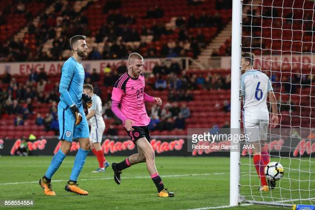 Oliver McBurnie of Scotland U21 collects the ball out of the fall after Chris Cadden of Scotland U21 scores a goal to make it 21 during the UEFA...