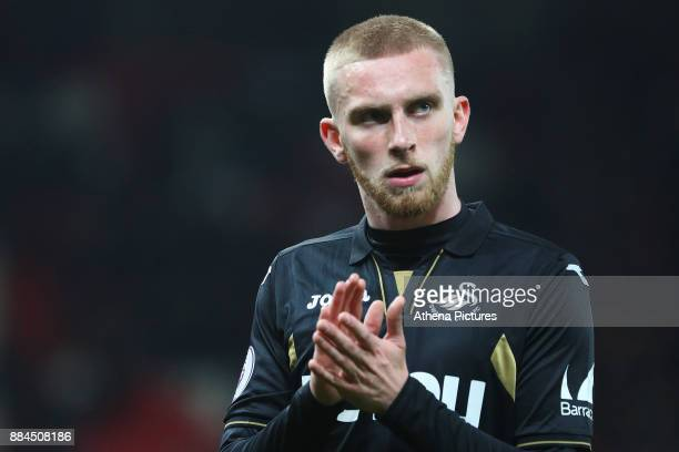 Oliver McBurnie of Swansea City after the final whistle of the Premier League match between Stoke City and Swansea City at the bet365 Stadium on...