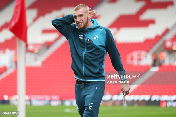 Oliver McBurnie of Swansea City arrives at bet365 Stadium prior to kick off of the Premier League match between Stoke City and Swansea City at the...