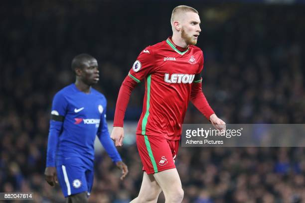 Oliver McBurnie of Swansea City during the Premier League match between Chelsea and Swansea City at Stamford Bridge on November 29 2017 in London...