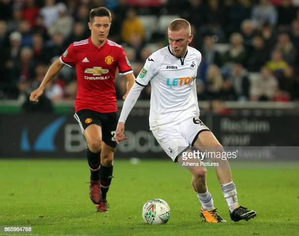 Oliver McBurnie of Swansea City in action during the Carabao Cup Fourth Round match between Swansea City and Manchester United at The Liberty Stadium...