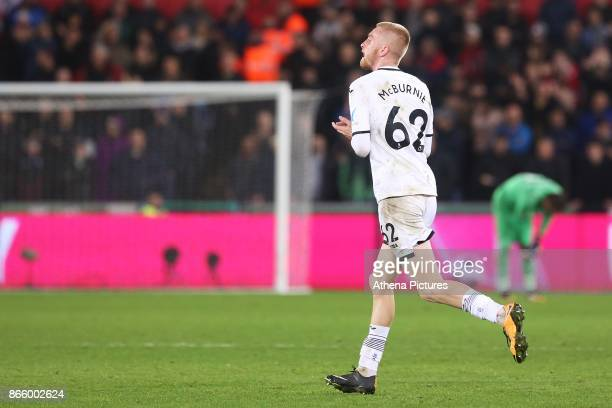 Oliver McBurnie of Swansea City is substituted during the Carabao Cup Fourth Round match between Swansea City and Manchester United at the Liberty...
