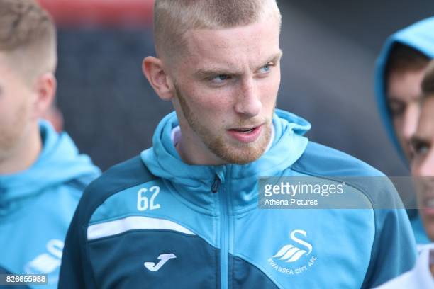 Oliver McBurnie of Swansea City prior to kick off of the preseason friendly match between Swansea City and Sampdoria at The Liberty Stadium on August...