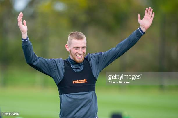 Oliver McBurnie reacts during the Swansea City training session at The Fairwood training Ground on November 16 2016 in Swansea Wales