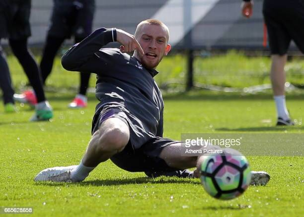 Oliver McBurnie stretches for the ball during the Swansea City Training at The Fairwood Training Ground on April 4 2017 in Swansea Wales