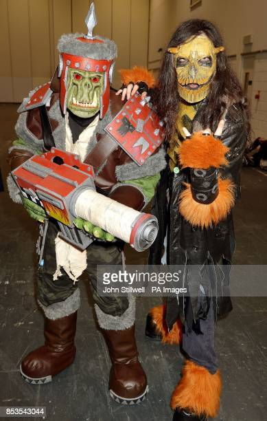 Oliver Misick and Michael Walsh wearing comic character outfits at the Comic Con exhibition which brings together fans of Comic book heros and...