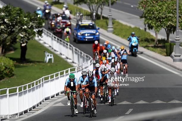 Oliver Naesen of Belgium heads the leading group during the Elite Men's Road Race on day eight of the UCI Road World Championships on October 16 2016...