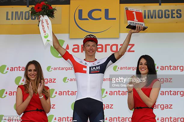 Oliver Naesen of Belgium riding for IAM Cycling poses with the most aggressive rider jersey number following stage four of the 2016 Le Tour de France...