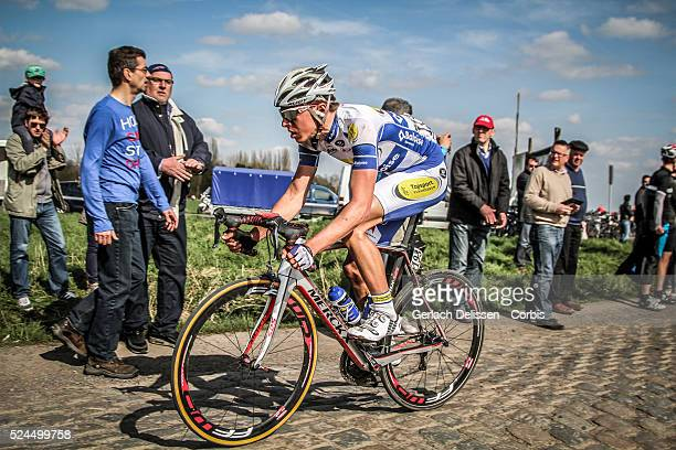 Oliver Naesen of the Team Topsport Vlaanderen Baloise in action during the 113th edition of ParisRoubaix road cycling race in France Sunday April...