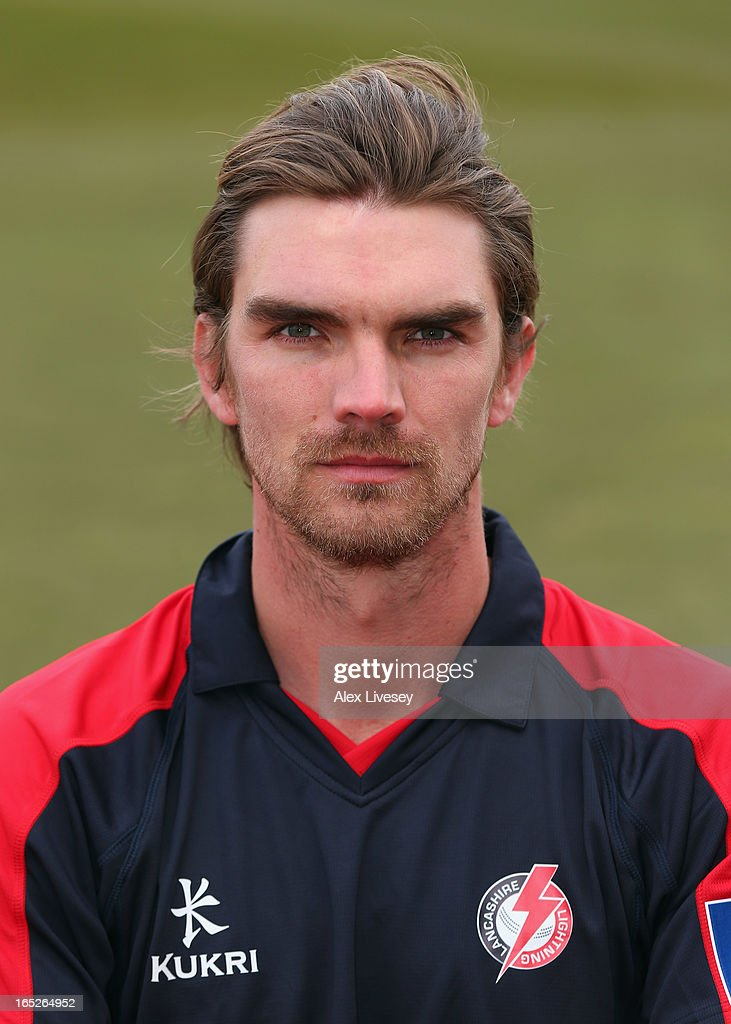Oliver Newby of Lancashire CCC wears the Yorkshire 40 during a pre-season photocall at Old Trafford on April 2, 2013 in Manchester, England.