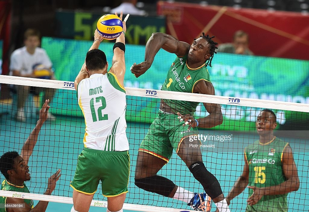 Oliver Nongni Zangium Mefani of Cameroon spikes the ball during the FIVB World Championships match between Cameroon and Australia on August 31, 2014 in Wroclaw, Poland.