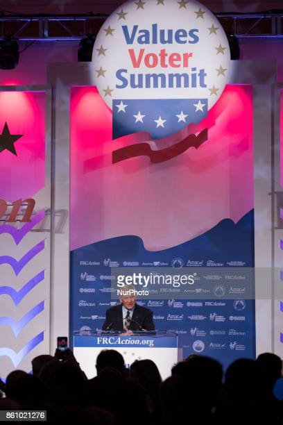 Oliver North political commentator and former United States Marine Corps Lieutenant Colonel speaks at the 2017 Values Voter Summit at the Omni...
