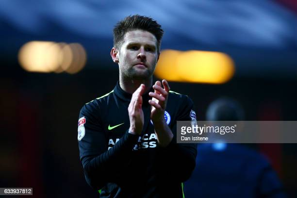 Oliver Norwood of Brighton Hove Albion applauds the fans after the Sky Bet Championship match between Brentford and Brighton Hove Albion at Griffin...