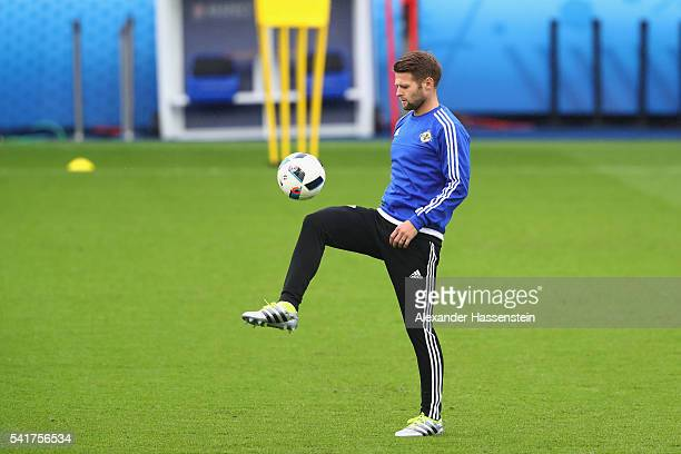 Oliver Norwood of Northern Ireland during a team Northern Ireland training session ahead of the UEFA EURO 2016 Group C match between Northern Ireland...