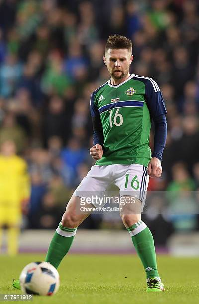 Oliver Norwood of Northern Ireland during the international friendly between Northern Ireland and Slovenia at Windsor Park on March 28 2016 in...