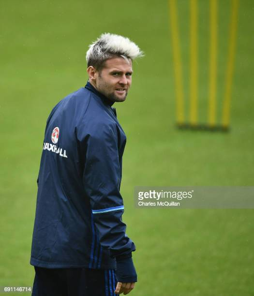 Oliver Norwood sporting a new hairstyle as the Northern Ireland football squad train at Windsor Park on June 1 2017 in Belfast Northern Ireland New...