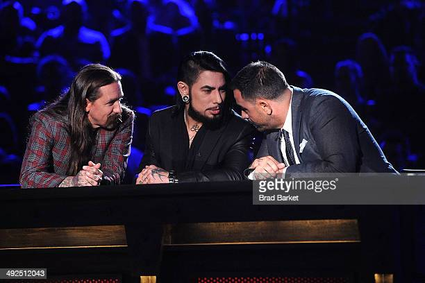 Oliver Peck Dave Navarro and Chris Nunez are seen during Spike TV's 'Ink Master' Season 4 LIVE Finale at SIR Stage 37 on May 20 2014 in New York City