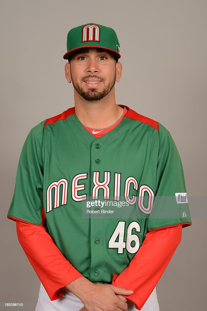 <a gi-track='captionPersonalityLinkClicked' href=/galleries/search?phrase=Oliver+Perez&family=editorial&specificpeople=221389 ng-click='$event.stopPropagation()'>Oliver Perez</a> #46 of Team Mexico poses for a headshot for the 2013 World Baseball Classic on Monday, March 4, 2013 at Camelback Ranch in Glendale, Arizona.