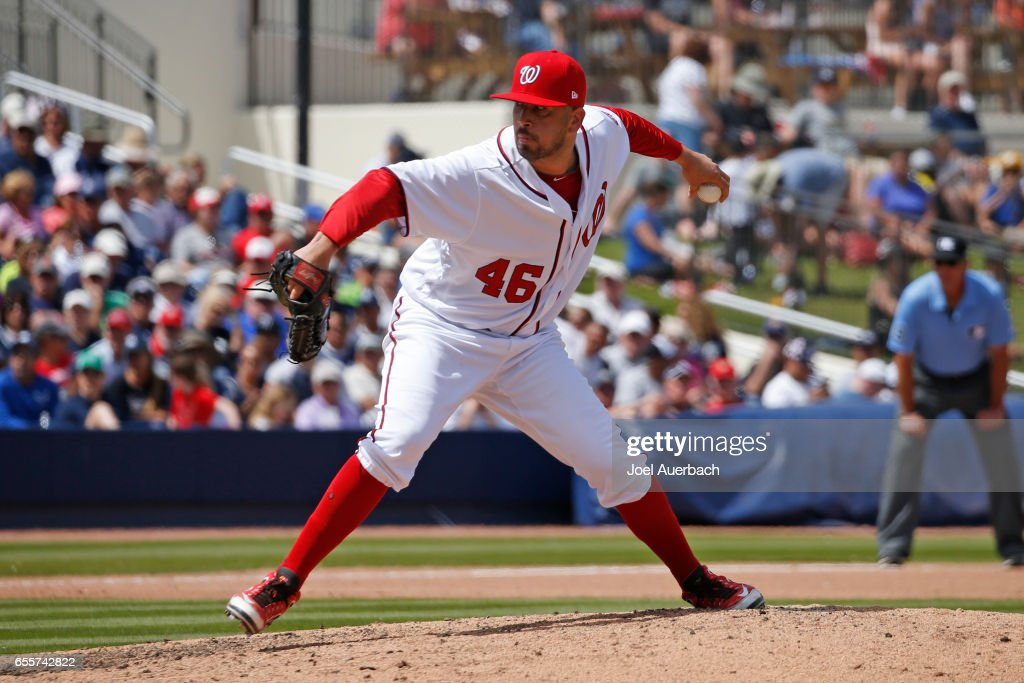 Oliver Perez #46 of the Washington Nationals throws the ball against the New York Yankees in the fourth inning during a spring training game at The Ballpark of the Palm Beaches on March 20, 2017 in West Palm Beach, Florida. The Yankees defeated the Nationals 9-3.