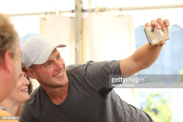 Oliver Petszokat makes a selfie during the celebration of 2500 episodes of 'Rote Rosen' on June 18 2017 in Lueneburg Germany