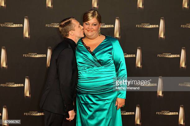 Oliver Pocher and Cindy aus Marzahn arrive at the red carpet of the 'Deutscher Fernsehpreis 2013' at Coloneum on October 2 2013 in Cologne Germany