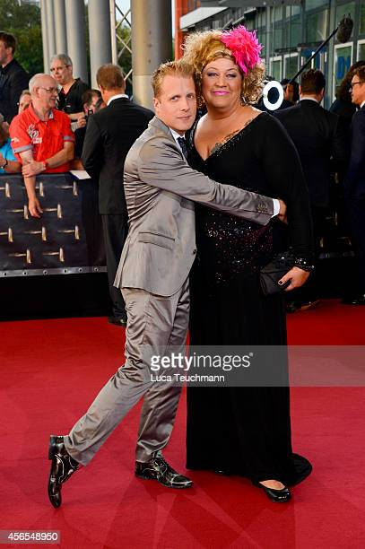 Oliver Pocher and Cindy aus Marzahn attend the red carpet of the Deutscher Fernsehpreis 2014 at Coloneum on October 2 2014 in Cologne Germany