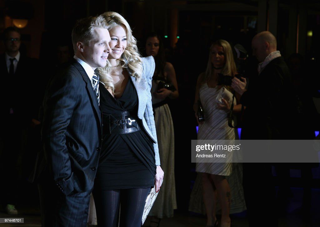 Oliver Pocher and Sandy MeyerWoelden arrive at Echo award 2010 at Messe Berlin on March 4 2010 in Berlin Germany