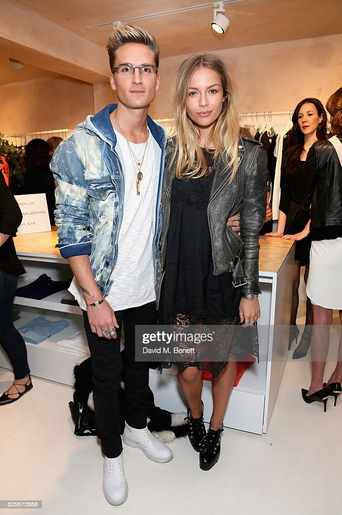 <a gi-track='captionPersonalityLinkClicked' href=/galleries/search?phrase=Oliver+Proudlock&family=editorial&specificpeople=9079738 ng-click='$event.stopPropagation()'>Oliver Proudlock</a> and Emma Louise Connolly attend the launch of the first UK Velvet by Graham and Spencer store at St Christopher's Place on April 28, 2016 in London, United Kingdom.