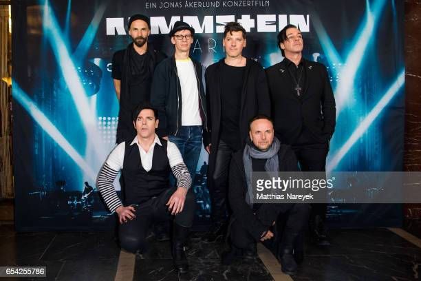 Oliver Riedel Christian Lorenz Christoph Schneider and Till Lindermann Richard Z Kruspe and Paul Landers of the band Rammstein attend the world...