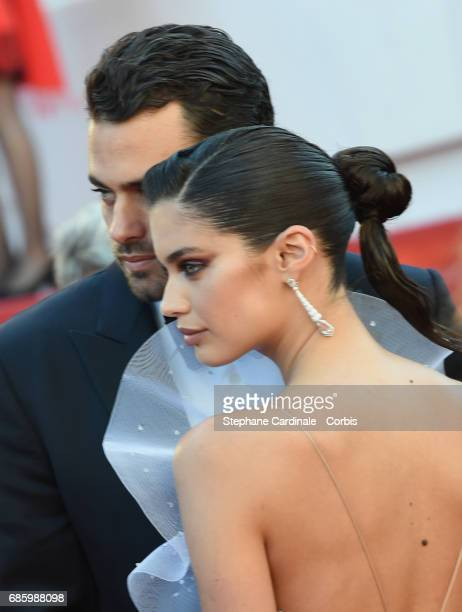 Oliver Ripley and model Sara Sampaio attend the '120 Beats Per Minute ' premiere during the 70th annual Cannes Film Festival at Palais des Festivals...