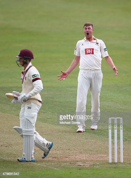 Oliver Robinson of Sussex shows his delight after capturing the wicket of Tom Abell of Somerset during day two of the LV County Championship match...