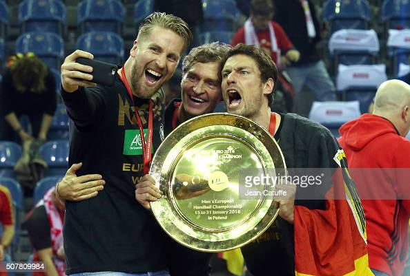 Oliver Roggisch and Carsten Lichtlein of Germany celebrate the victory following the Gold Medal match the final of the Men's EHF European Handball...