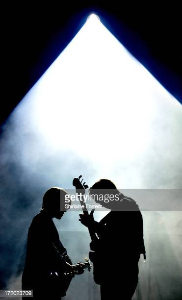 Oliver Sim and Romy Madley Croft of The xx perform headlining The Other Stage at day 4 of the 2013 Glastonbury Festival at Worthy Farm on June 30...