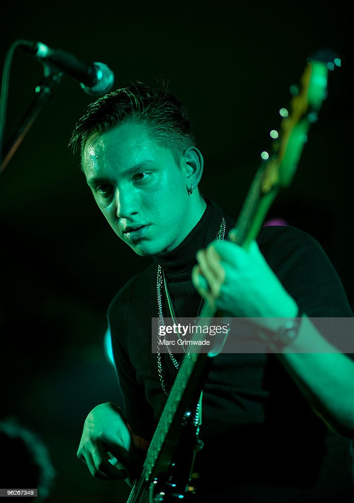 Oliver Sim from the band The XX performs on stage at the Brisbane leg of the Laneway Festival in Fortitude Valley on January 29 2010 in Brisbane...