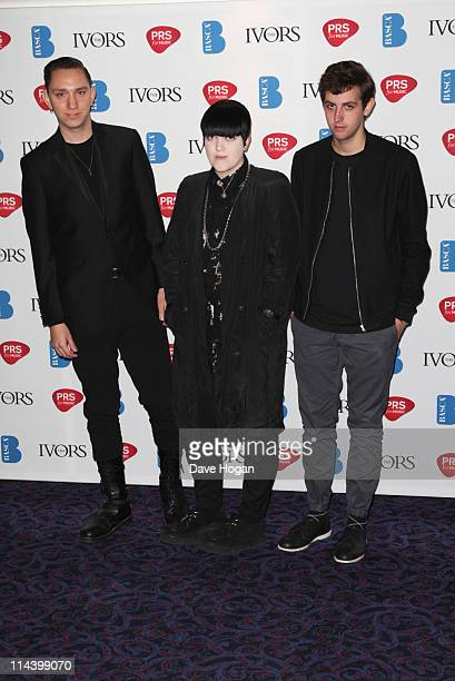 Oliver Sim Romy Madley and Jamie Smith aka Jamie XX attend The Ivor Novello Awards 2011 at The Grosvenor House Hotel on May 19 2011 in London England